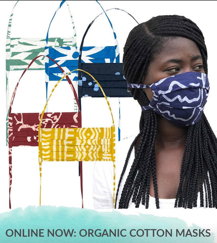 Organic Fair Trade Masks from Ghana. Tie back. Adult & Children Size