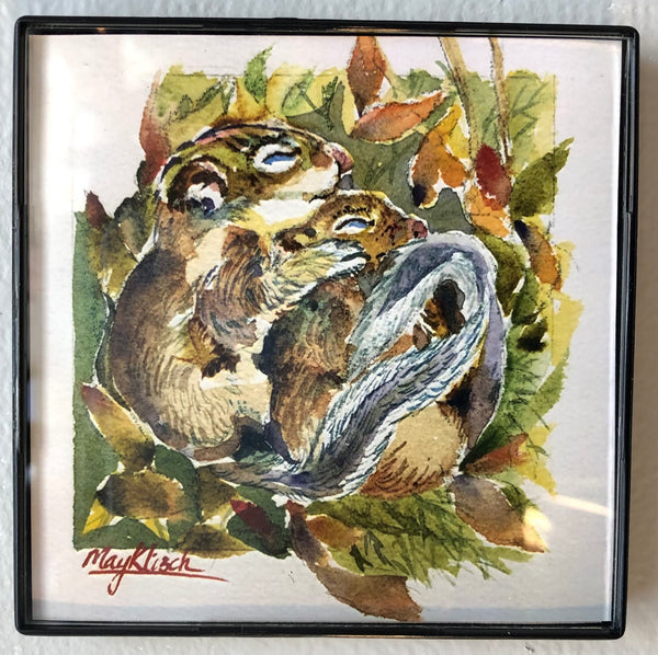 Squirrel Mother & Baby original art print with frame 4x4 May Kitsch