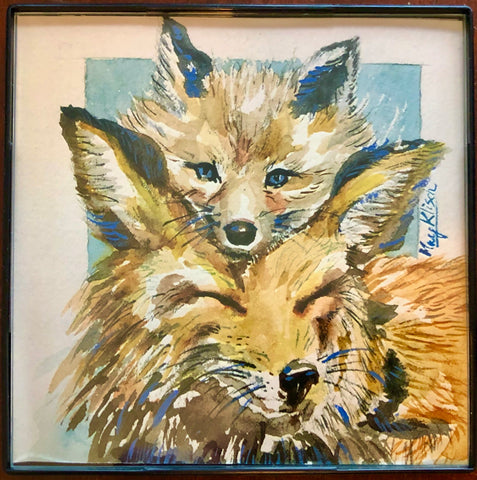 Fox Mother & Child original art print with frame 4x4 May Kitsch