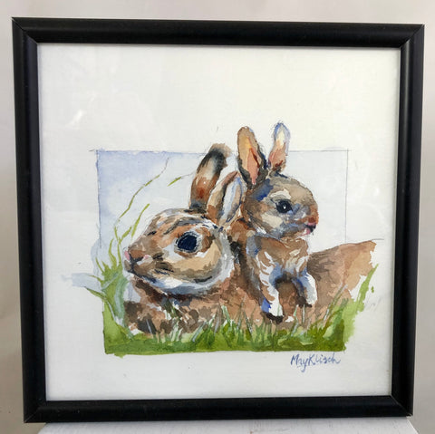 Bunnies watercolor print . Wisconsin artist, May Klisch 4x4in