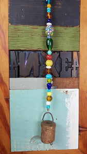 Beautiful chime with colorful beads,brass bell