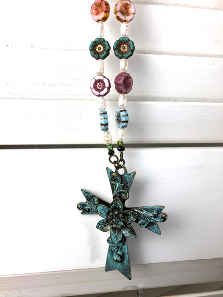 Czech Glass and Pearl Cross Necklace