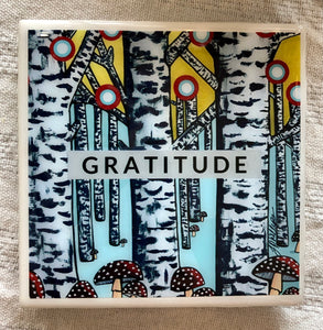 Gratitude Art Coaster - hand designed Milwaukee