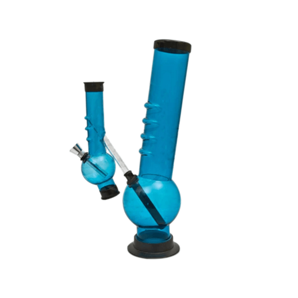 Double Bubble Acrylic Bong - 12 Inches - Blue