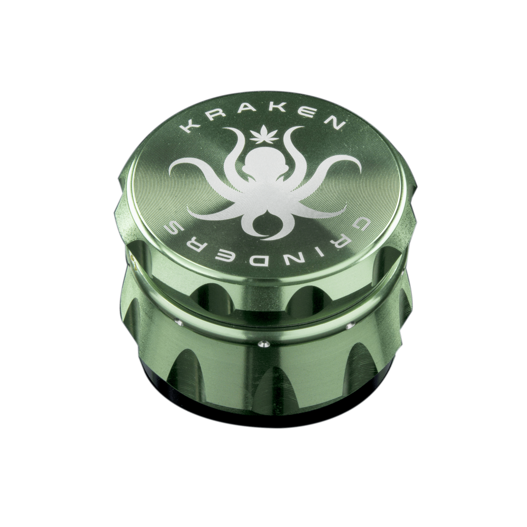 Precision Metal Grinder by Kraken - Four Pieces - 2.5 Inches - Gold/Green