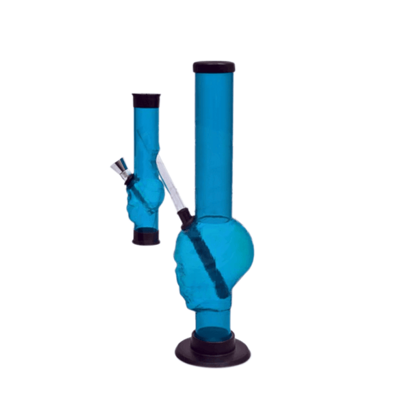 Blue Acrylic Bong - 12 Inches - Skull