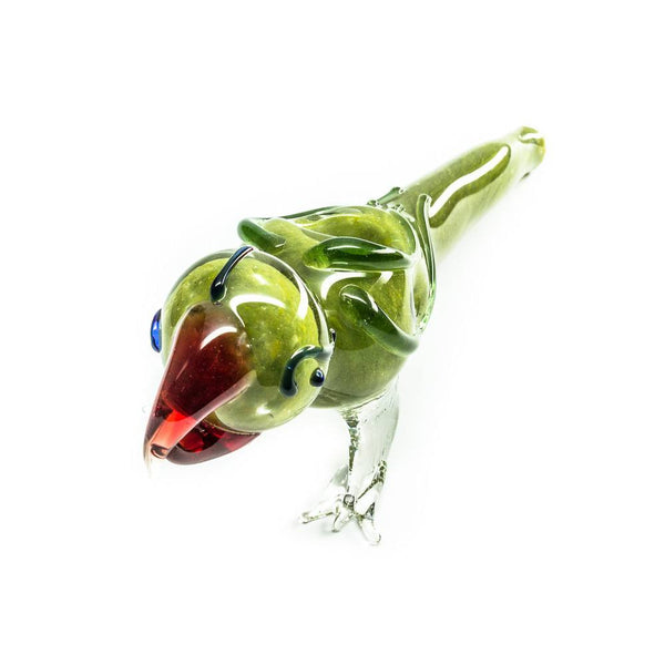 Unique Glass Animal Pipe - Green Parrot - Handblown - 5 Inches