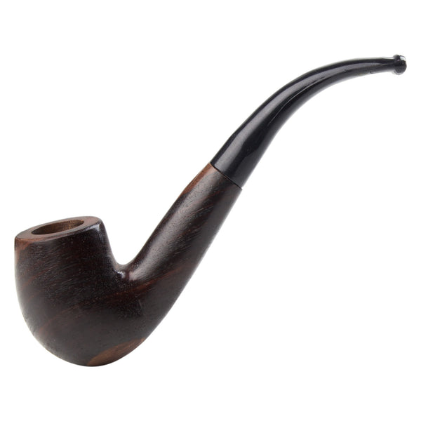 Classic Rosewood Sherlock Hand Pipe - Brown with Black Handle - 7 Inches