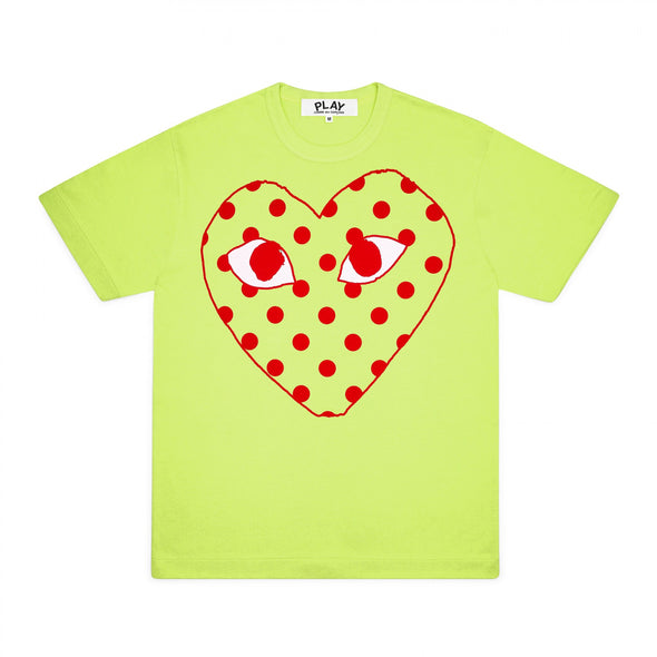 PLAY Red Spotted Heart Screenprint T-Shirt Spring Series (Green)