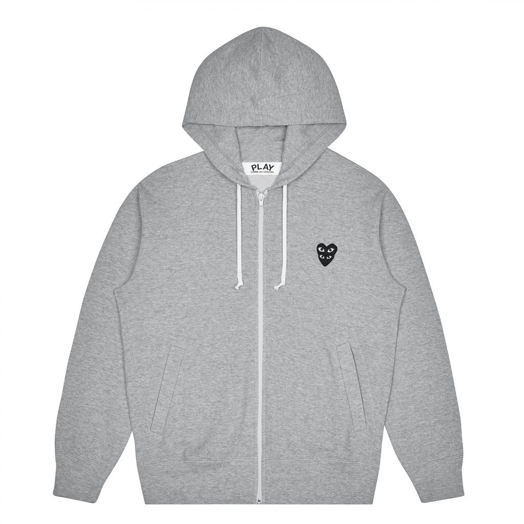 PLAY Zip Hooded Sweatshirt with Black Family Heart