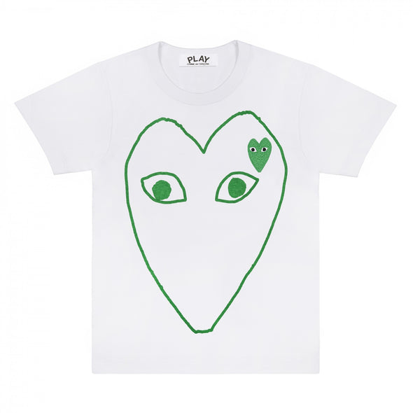 PLAY White T-Shirt with Green Outline Heart and Emblem