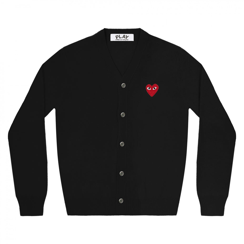 PLAY Cardigan Red Emblem Black