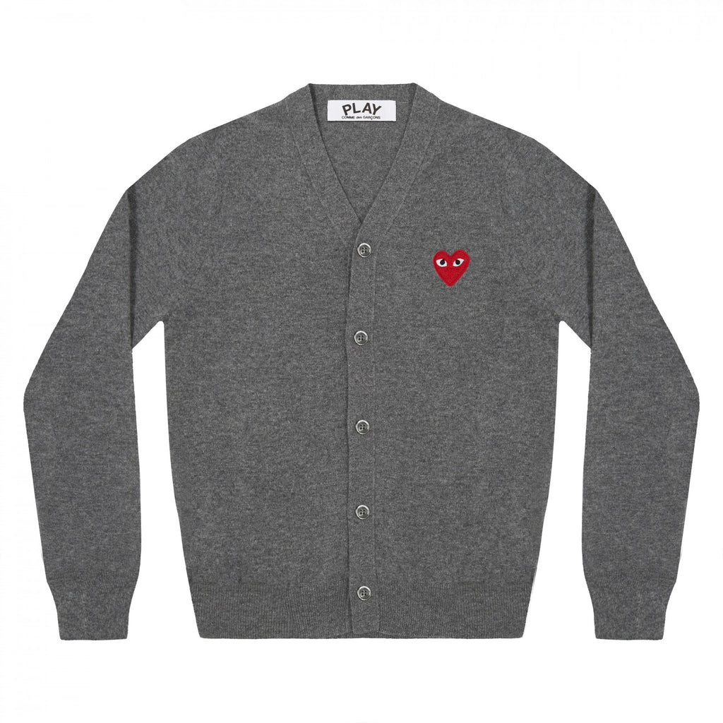 PLAY Cardigan Red Emblem Grey