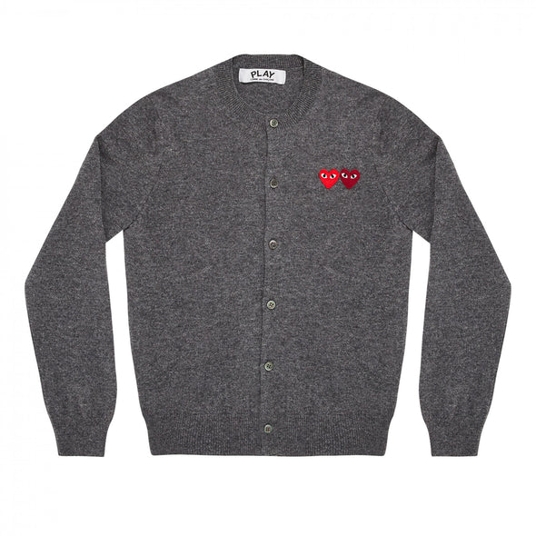 PLAY Cardigan with Double Emblems Grey