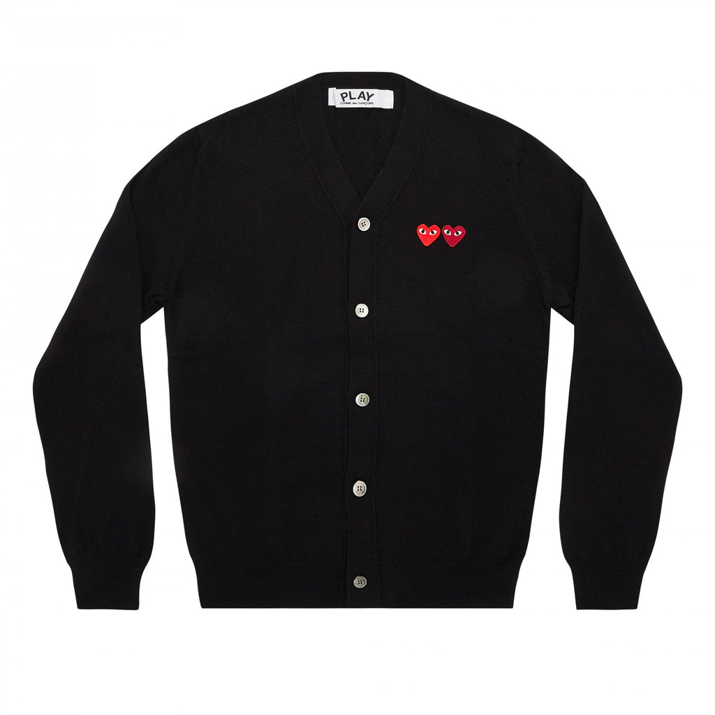 PLAY Cardigan with Double Emblems Black