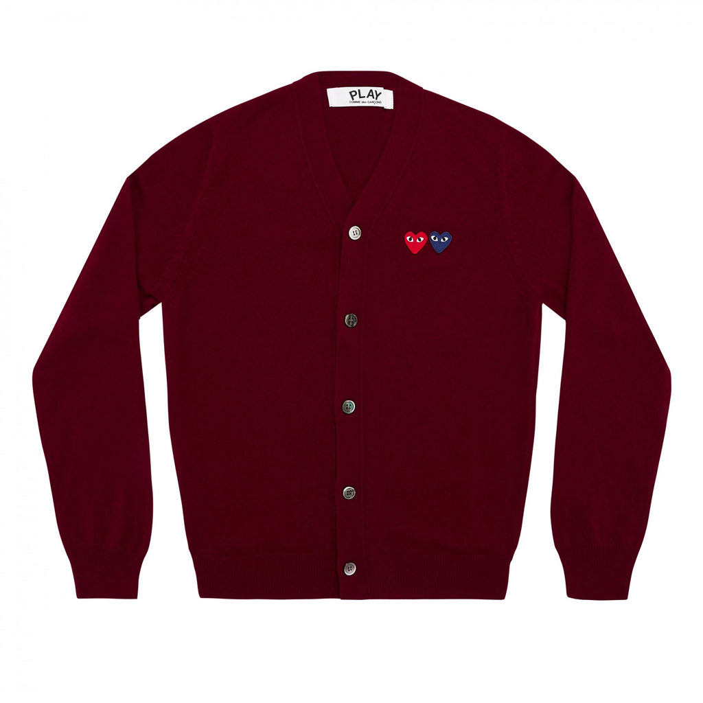 PLAY Cardigan with Double Emblems Burgundy