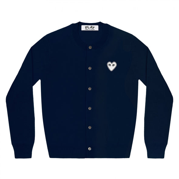 PLAY Cardigan White Heart Navy