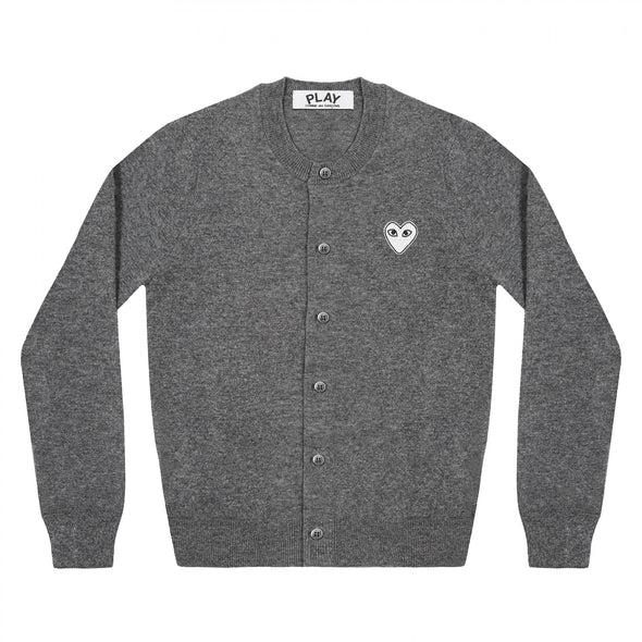 PLAY Cardigan White Heart Dark Grey