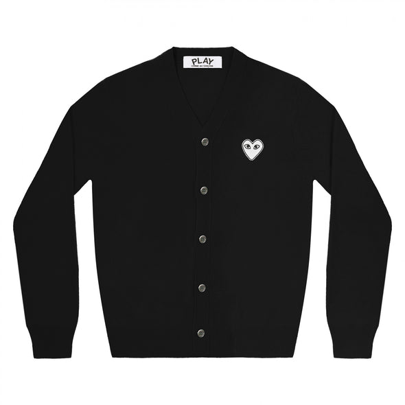 PLAY Cardigan White Heart Black