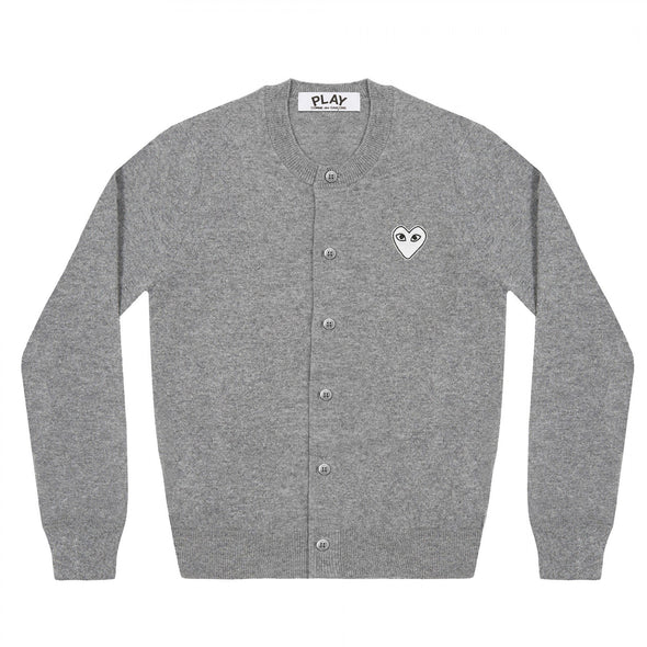 PLAY Cardigan White Heart Natural Series Light Grey
