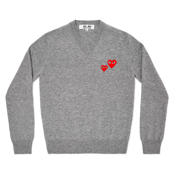 PLAY V-Neck Pullover Two Heart Grey Series