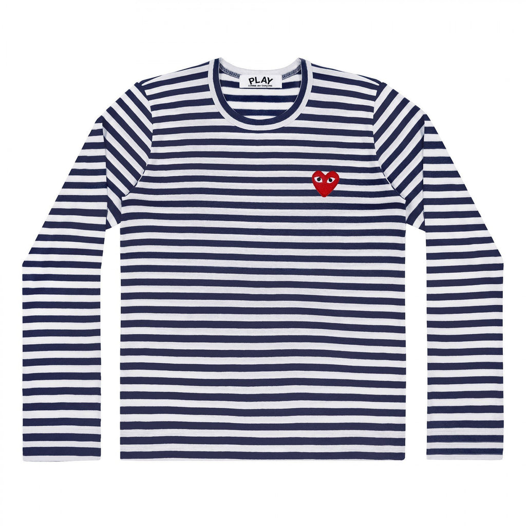 PLAY L/S Navy Striped Red Emblem