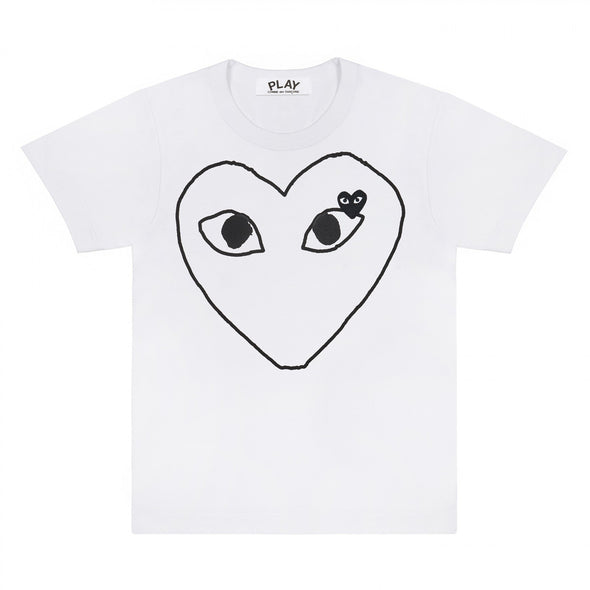 PLAY White T-Shirt Black Heart Outline and Emblem