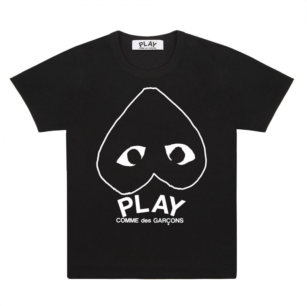 PLAY Black T-Shirt with White Heart Outline