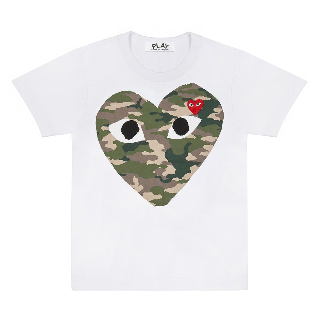 PLAY White T-Shirt with Camo Printed Heart