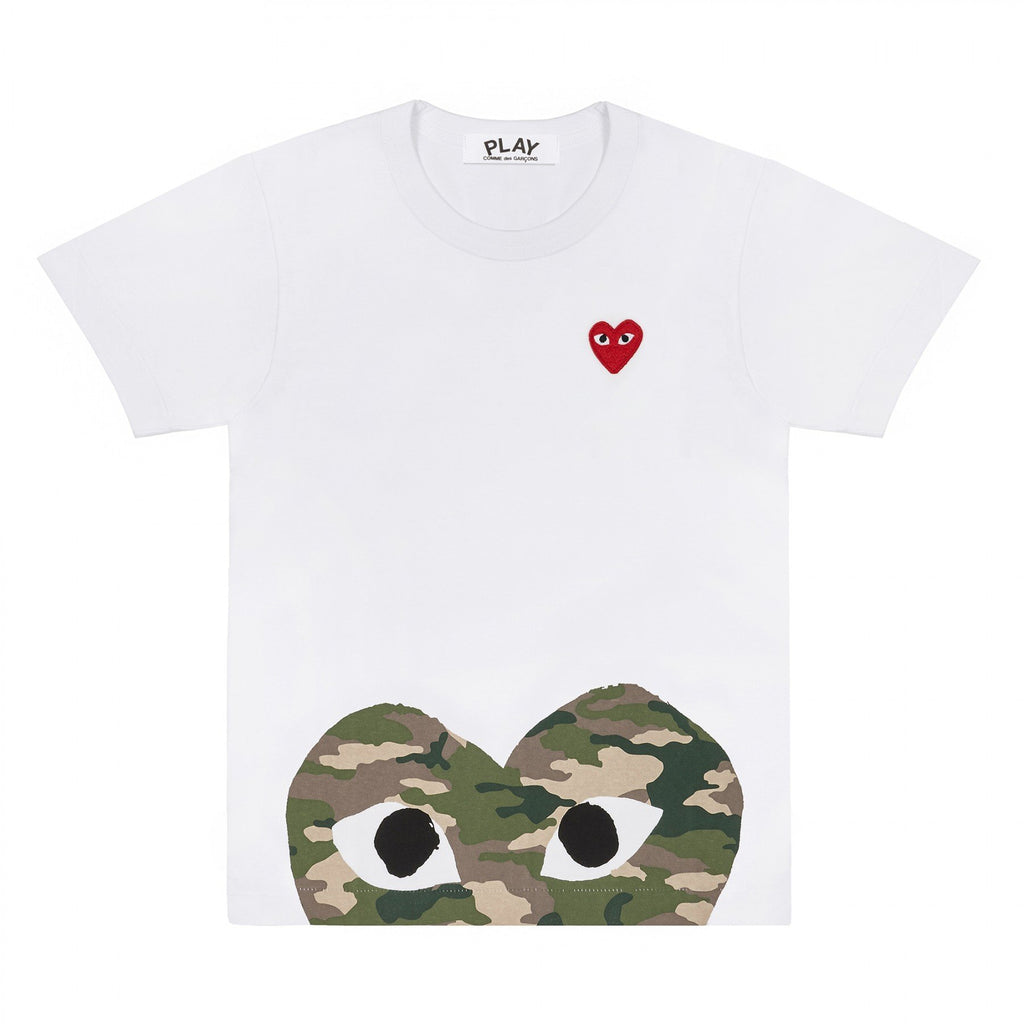 PLAY White T-Shirt with Camo Printed Half Heart