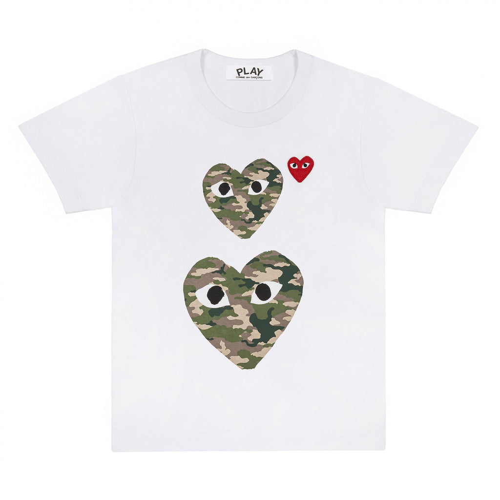 PLAY White T-Shirt with Camo Printed Small and Big Hearts