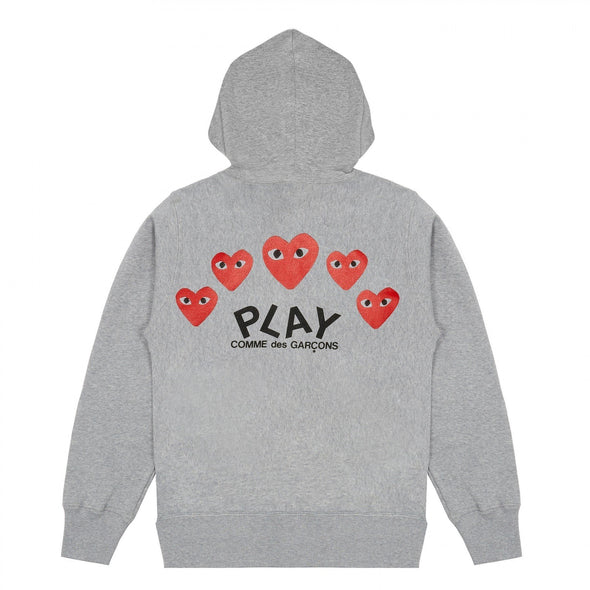 PLAY Grey Multi Logo Zip Hooded Sweatshirt
