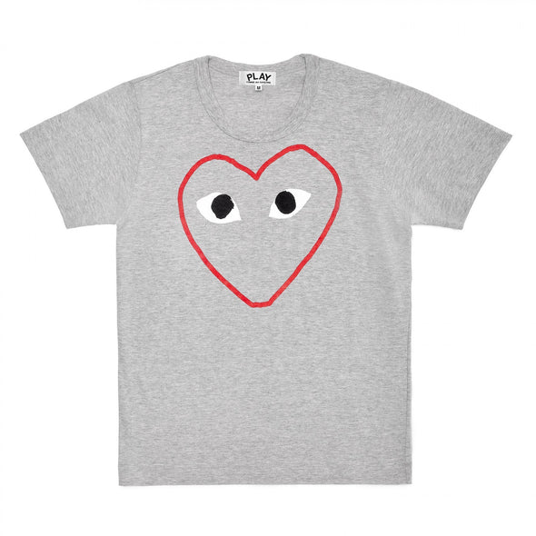 PLAY T-Shirt Red and White Outline Heart