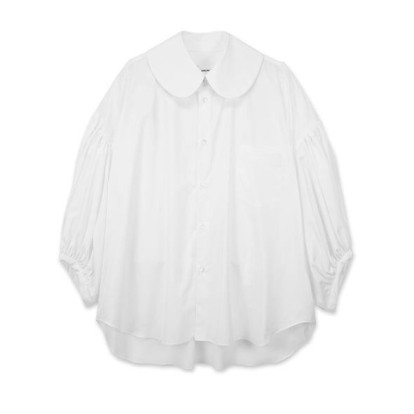White Cotton Broad Billow Sleeve Blouse
