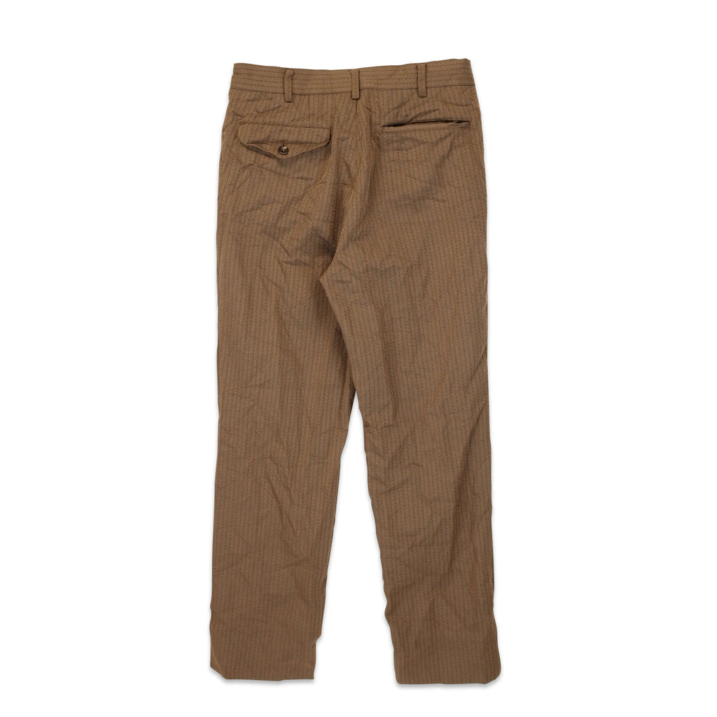 Brown Polyester Herringbone Pant