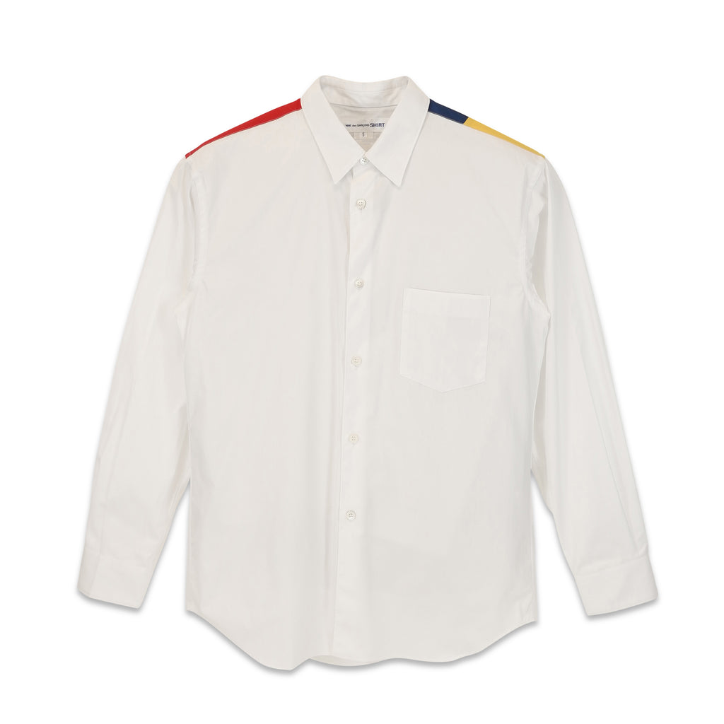 White Shirt with Contrast Patchworked Back Yoke