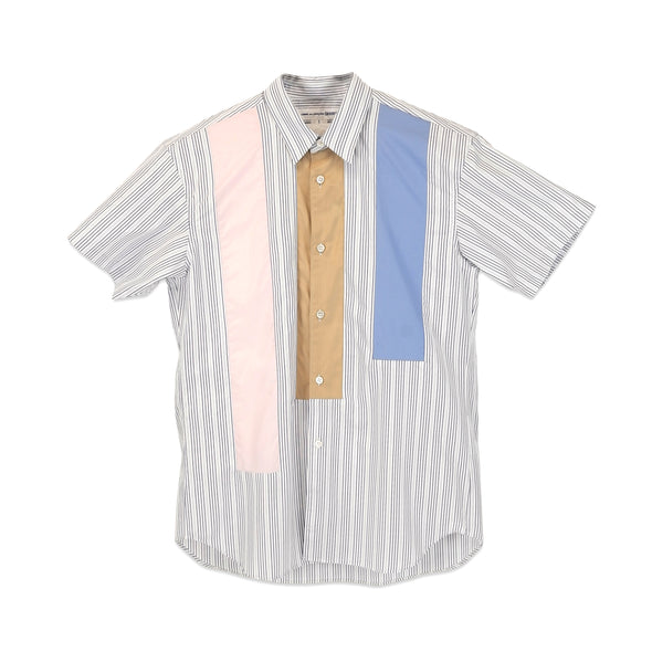 Stripe with Vertical Colour Block Panelled S/S Shirt