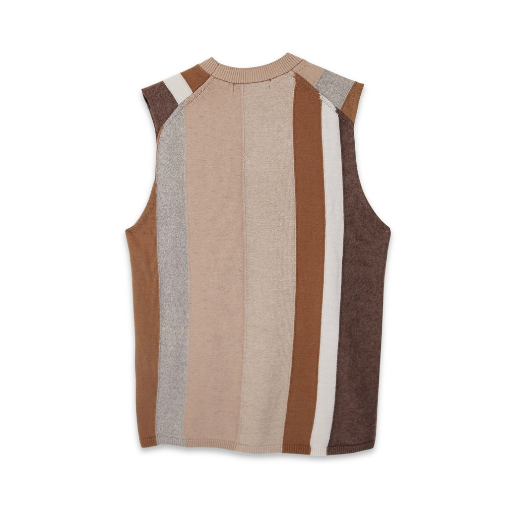 Multi Coloured Thick Stripe Knitted Vest Brown