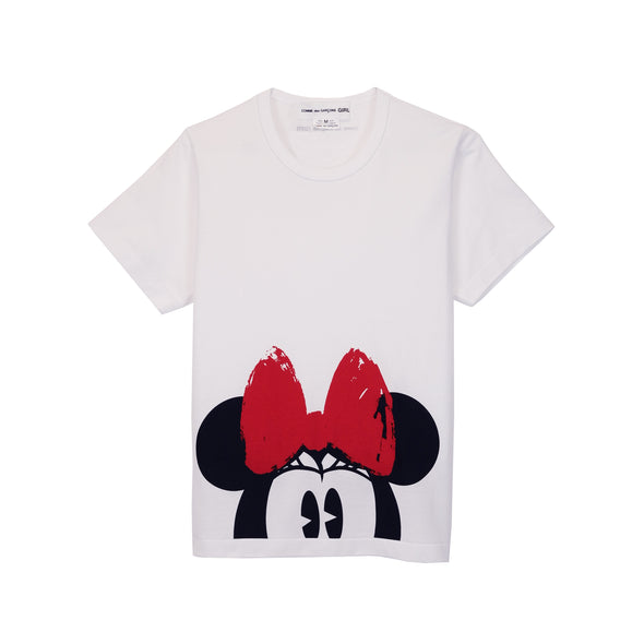 Cotton Jersey Minnie Mouse Print T-Shirt