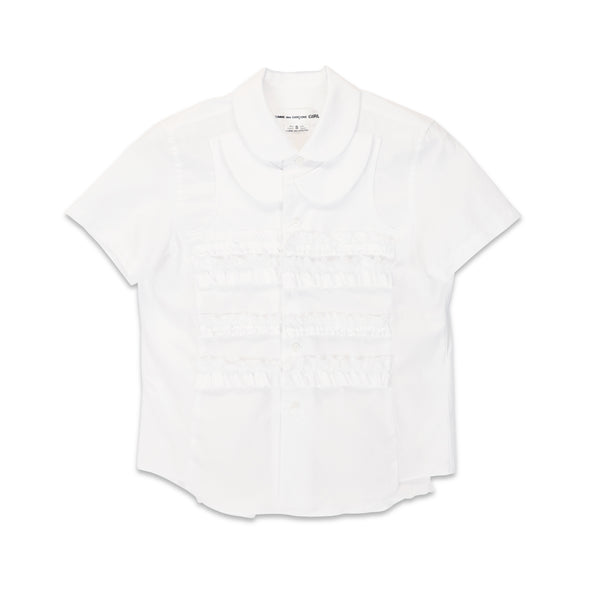 White Cotton Broad Short Sleeve Shirt with Frill Overlay