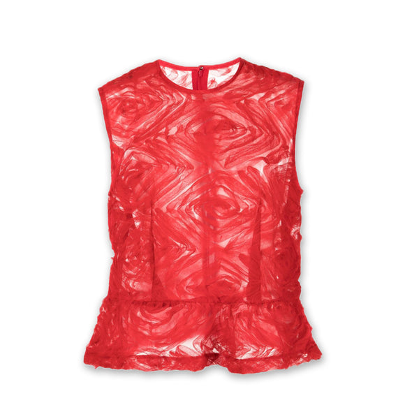 Tulle Tape Embroidery Blouse Red