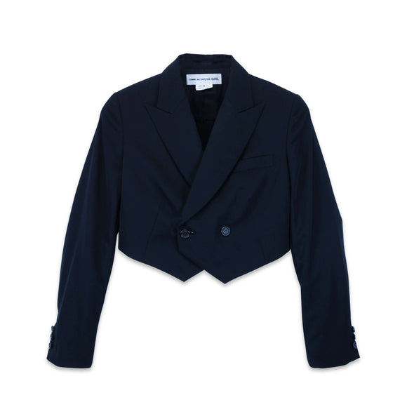 Navy Wool Gabardine Double Breasted Cropped Jacket