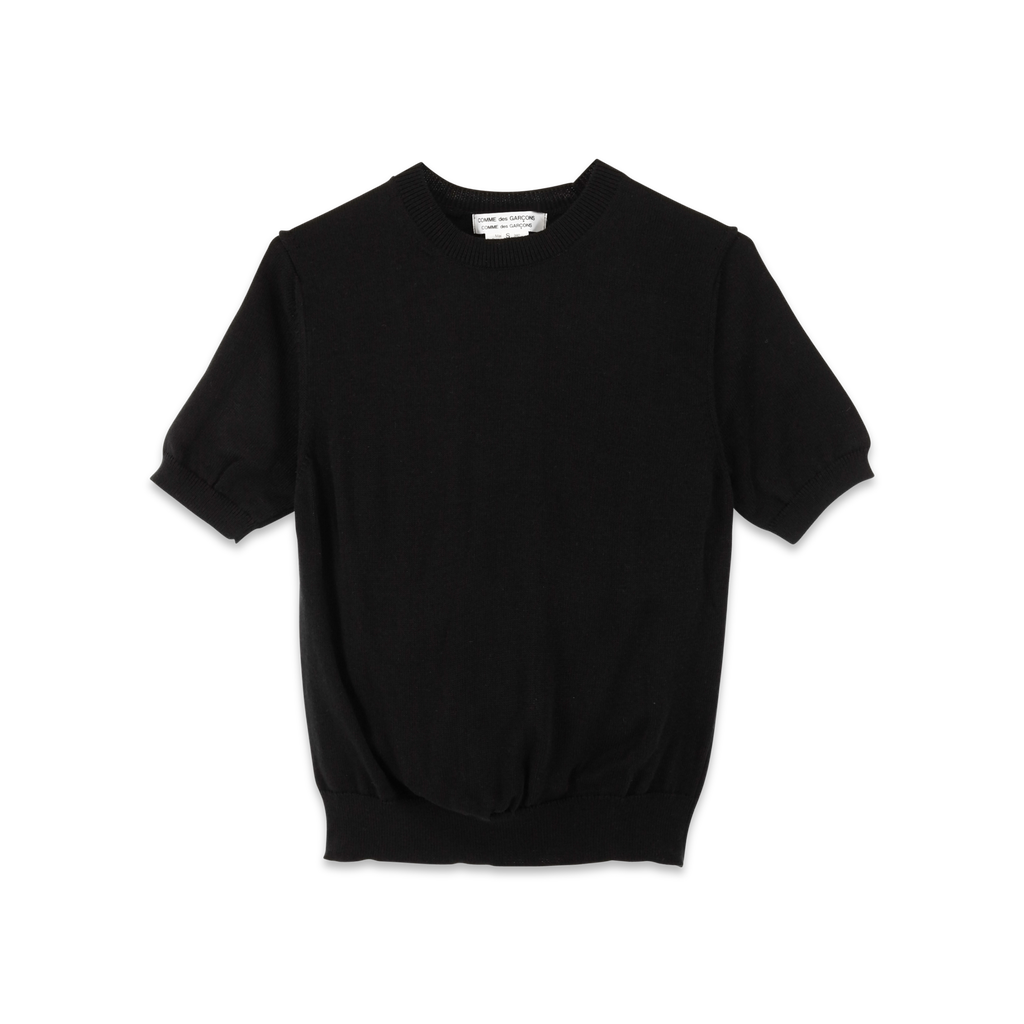 Fully Fashioned Short Sleeve Knit Black