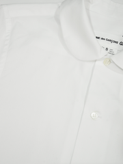 White Cotton Broad Short Sleeve Shirt with Peter Pan Collar