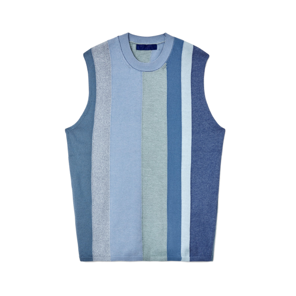 Multi Coloured Thick Stripe Knitted Vest Blue