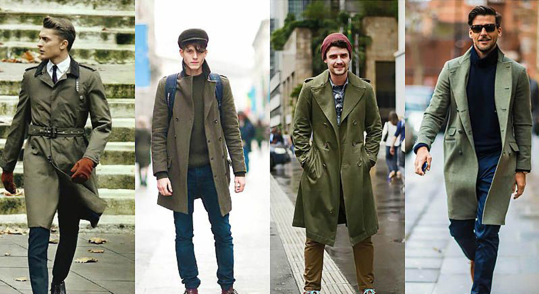 Trench Homme Vert Militaire