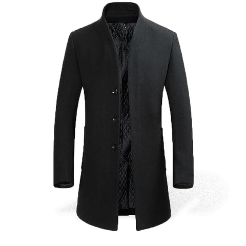Trench Noir Long Homme