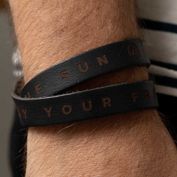 Friends Like The Sun Double Wrap Leather Wristband - Black