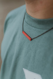 Then, Now, Always Bar Necklace - Coral
