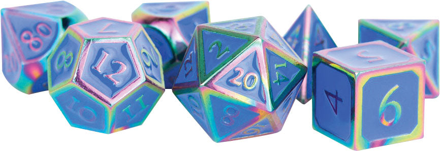 16mm Metal Polyhedral Dice Set: Rainbow with Blue Enamel | Alternate Worlds